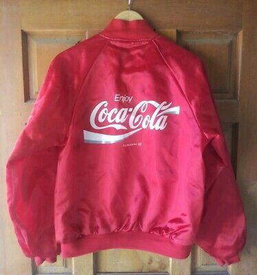 Vtg Coca Cola Nylon Snap Jacket Men's Medium 38-40 Front/Rear Spell Out Swishy