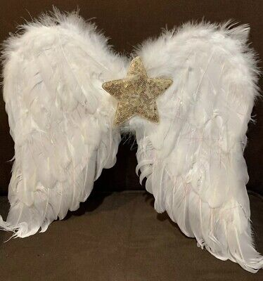 Gold Costume Wings (ANGEL WINGS WHITE FEATHERS SEQUINS GOLD STAR DRESS UP COSTUME SUPER)