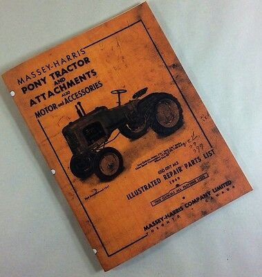 Massey-harris Pony Tractor Attachments Illustrated Repair Parts List Manual
