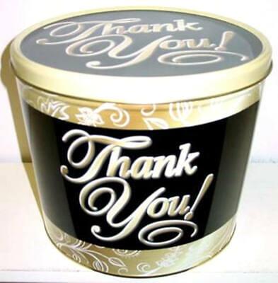 Thank You Popcorn Tin with 2 Gallons Caramel Cheddar Cheese Popcorn 2 Gallon Caramel Popcorn