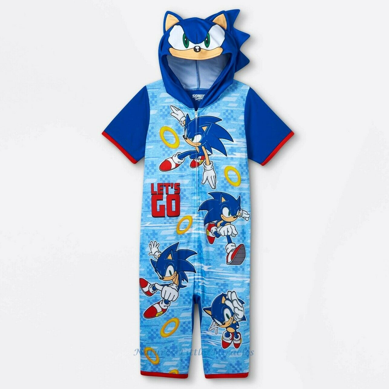 Sonic The Hedgehog Pajamas Boy Hoodie Union Suit One Piece Costume Size XS-L NWT