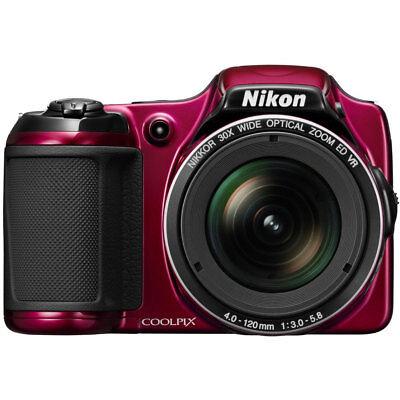 Nikon COOLPIX L820 16 MP 1080p 30x Zoom Red Digital Camera - Factory Refurbished
