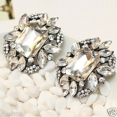 "Design Lady  Clear crystal long Ear Studs bride earrings hot 1 1/2"" e306"