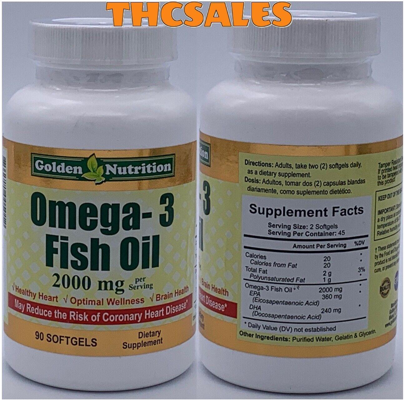 Golden Nutrition Omega 3 Softgels Fish Oil Cholesterol Heart