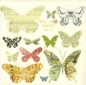 4x-Single-Luxury-Paper-Napkins-for-Decoupage-and-Craft-Vintage-Butterflies