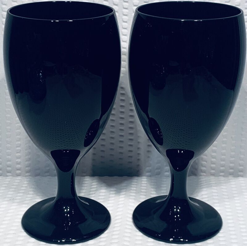 "Lot Of 2 ~ 7 1/8"" Libbey Water Goblet Stems Black Amethyst ca 1997-1998"