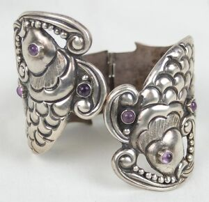 Vintage Taxco Mexican Sterling Hinged Bracelet Two Fish Amethyst Eyes