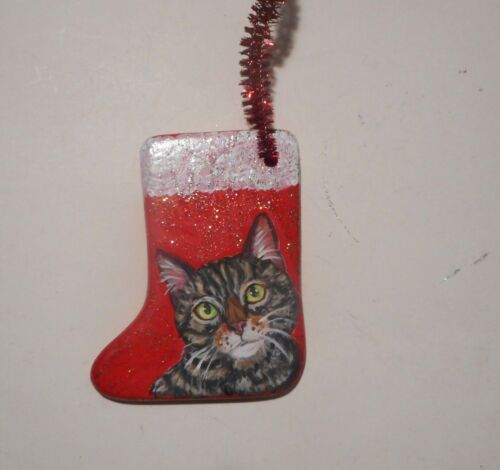 Gray Tabby Cat Christmas Ornament Decoration Hand Painted Ceramic