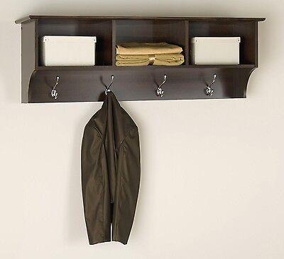 Hallway Coat Storage Entryway Cubbie Shelf - Espresso