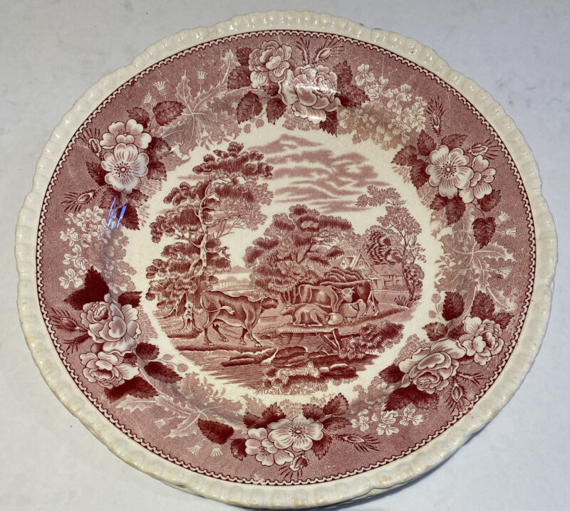 "Staffordshire Adams ENGLISH SCENIC  Pink & White 10"" Dinner Plate, Set of 5"