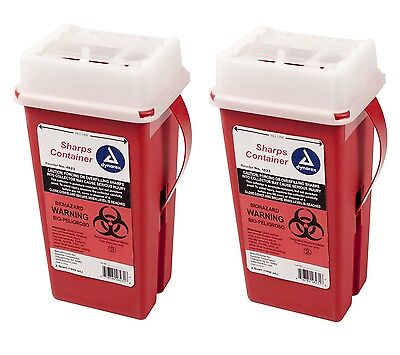 Sharps Container Biohazard Needle Disposal 2 Qt Size Medical-dental-tattoo 2ea