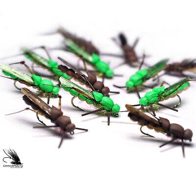 Triple Decker Foam Hopper Green Tan Grasshopper Size 10-4 Flies F920 Yellow
