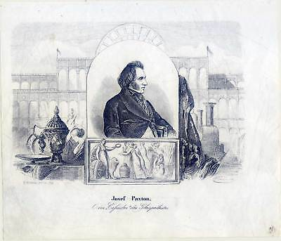 Sir Joseph Paxton-Architekt-Glaspalast-Crystal Palace-Portrait-Lithographie 1855