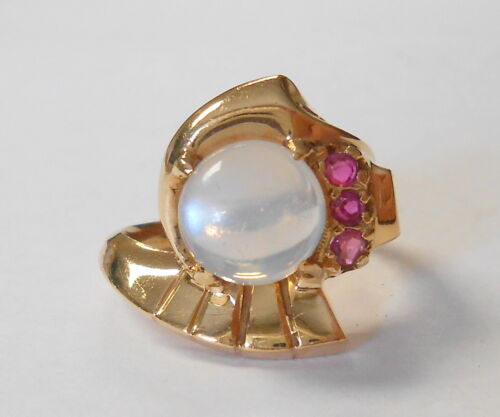 Vintage 14K Yellow Gold Cabochon Moonstone & Ruby Deco Design Ring Size 5.75