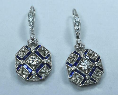 Vintage Art Deco 2 Ct Diamond and Blue Sapphire Drop Earrings 14K White Gold Fn