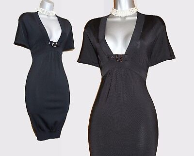 Karen Millen Black Knitted Low V Neck Short Sleeves Bubble Mini Dress 1 UK 8/10