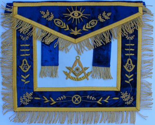 Masonic Past Master Blue APRON HAND EMBROIDERED BULLION VINE WORK
