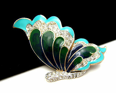 Vintage Panetta Butterfly Brooch Pin Pave Rhinestones Enamel Green Aqua on Lookza
