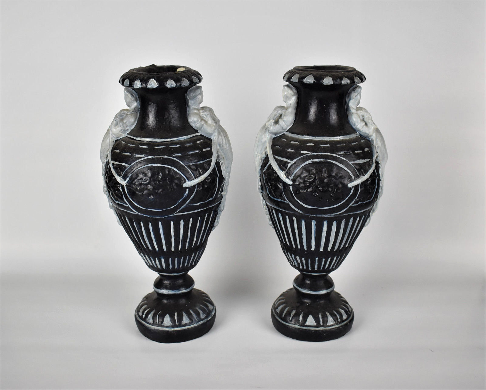 Rare Pair Of Antique French Chalkware / Plaster Urn Vases Ca. 1900
