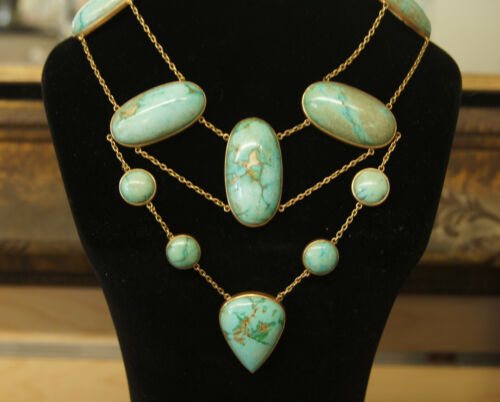 Victorian Natural Turquoise Festoon Necklace Gold 31931z