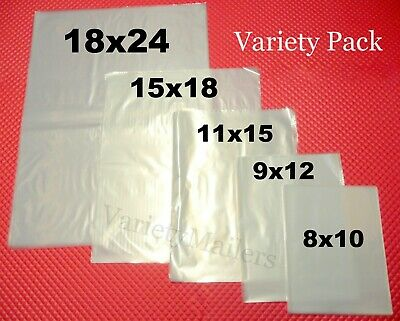 100 Clear Plastic Merchandise Bag Variety Pack 5 Sizes 1.5 Mil Quality
