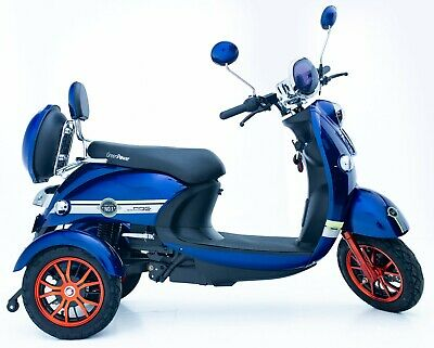 Electric Mobility Scooter 3 Wheeled Blue Exclusive Eco 60V100AH 600W Unique NEW