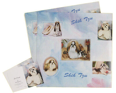 Shih Tzu Dog All Occasions Birthday etc Wrapping Gift Paper 2 Sheets 2 Tags