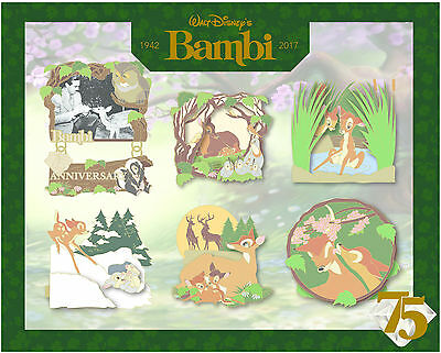 Disney D23 Expo 2017 Bambi 75 Years 75th Anniversary LE 500 Boxed 6 Pin Set