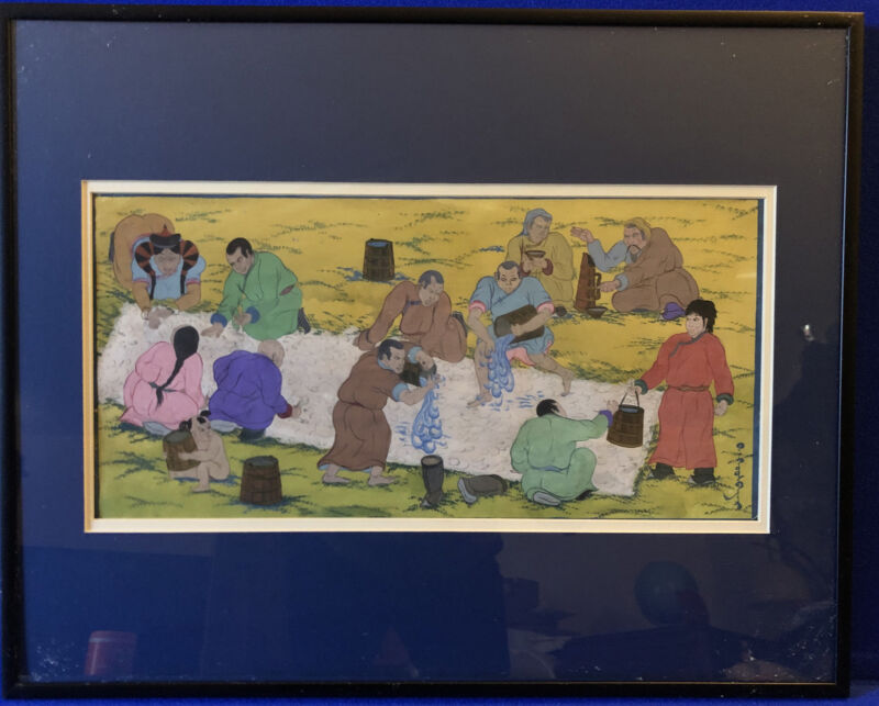 Original Painting Mongolian Men And Women Cleaning Wool