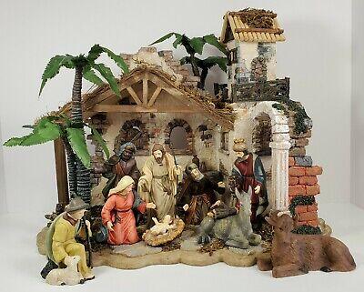 Nativity Set Modern 10 Piece Hand Painted Porcelain Stable Scene Original Box