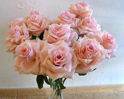 12 x Edelrose rosa  Kunstblumen -Rosen - Seidenblumen