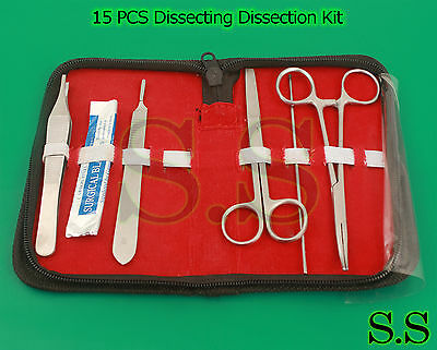 15 Pcs Dissecting Dissection Kit Large Animal Student College Veterinary Ds-1245