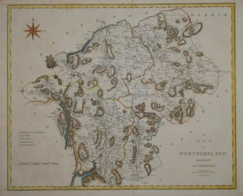 A MAP OF WESTMORELAND BY JOHN CARY, PUBLISHED 1805.
