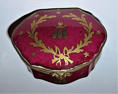 LIMOGES BOX - LE TALLEC - BURGUNDY CHEST - GOLD NAPOLEONIC BEES & STARS - - Gold Limoges Box
