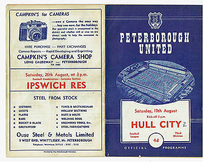 Peterborough United v Hull City programme 19 August 1961