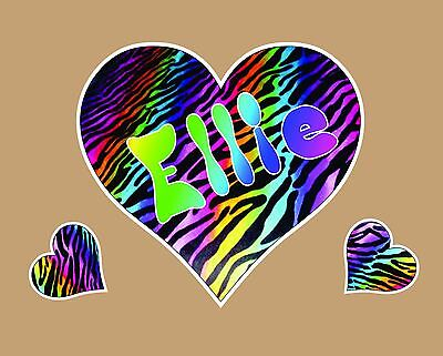 Rainbow Zebra Heart Personalized Vinyl Wall Art Decal Decor kids bed room - Zebra Decorations