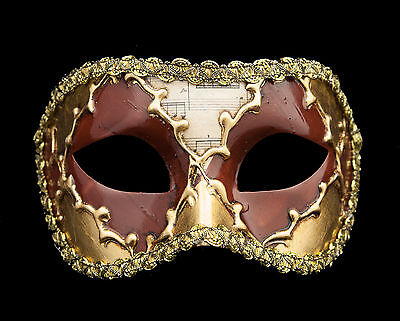 Mask Wolf from Venice Colombine Sinfonia Golden Brown for Fancy Dress 652 V39B