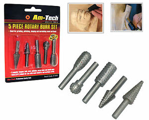 5 Pcs Rotary Burr Set Rasp Drill Bits shank Wooden Carving Grinding Polishing