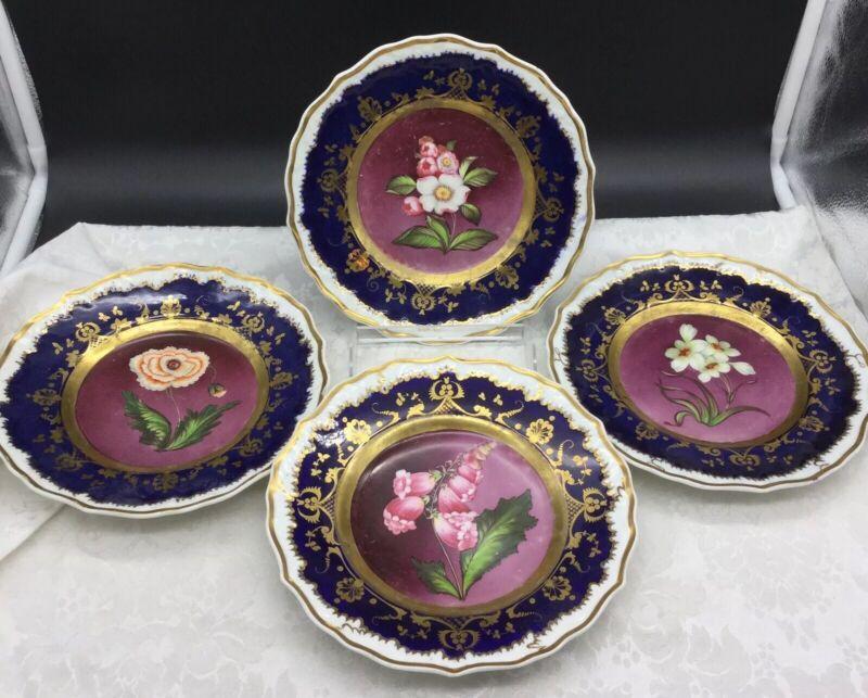 4 Hand Painted Coalport Worcester Coalport English Cobalt Gold Flowers Plates