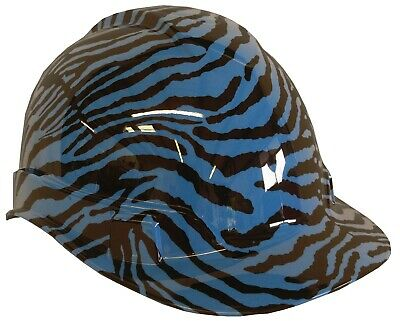 Light Blue Hard Hat (Hydro Dipped Custom Hard Hat Ridgeline Light Blue Zebra W/ Free BRB)