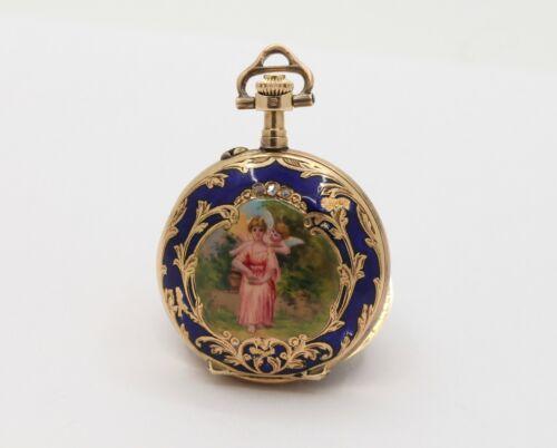 Swiss Enamel Cherub Cupid Portrait 14K Gold Diamond Pocket Watch