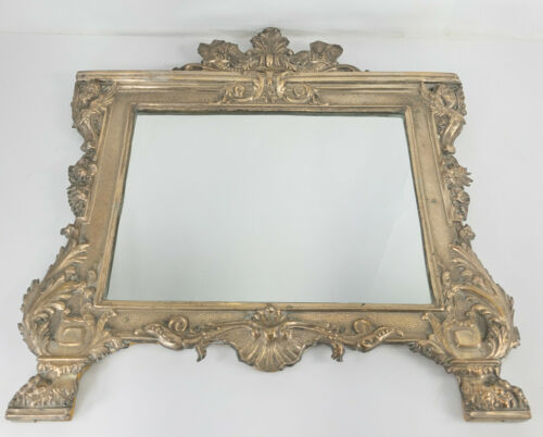 Antique Decorative Neo-Classical Silver Plated Mirror Renaissance Revival