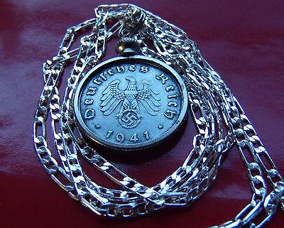 "1940-1943 German WW2 Third Reich Eagle Coin Pendant on a 30"" 925 Silver Chain"