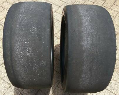 """Two Old 18"""" Racing Tyres Michelin 25/64 R 18"""