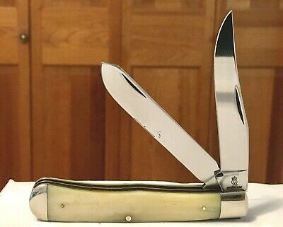 Vintage Queen Cutlery Trapper Smooth Natural Bone Pocket Knife For Repair+As-Is!