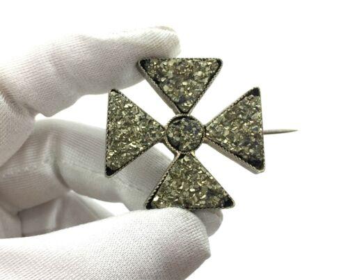 Antique Georgian Silver-Plated Durzy Pyrite Maltese Cross Brooch