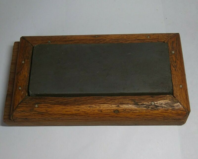 Vintage Sharpening Stone Whetstone Primitive Antique Handmade Wood Box