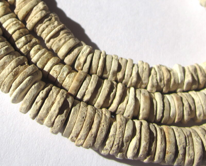 """26"""" STRAND OF RARE ANCIENT SMALL GRADUATED OSTRICH SHELL HEISHIS"""