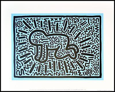 Keith Haring Untitled baby Poster Kunstdruck Bild im Alu Rahmen schwarz 36x28cm