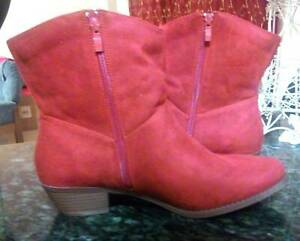 NEW Red Suede Ankle Cowboy Boots Size 12 Cottesloe Cottesloe Area Preview